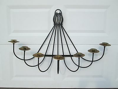 RARE VIRGINIA METALCRAFTERS  Mid Century Modern Large Brass/ Iron Candle Sconce