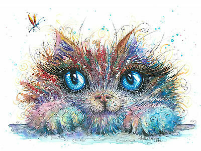 Watercolour Painting KITTY CATCHER by Sophie Appleton replica of Original cat