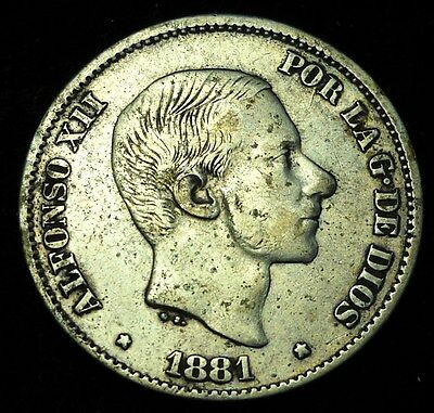 *** Philippines 1881 50 Centimos, Scarce.  World - Foreign Silver Coin.