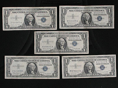 5 1957 One Dollar Bills * SILVER CERTIFICATES * GENERAL CIRCULATED NOTES