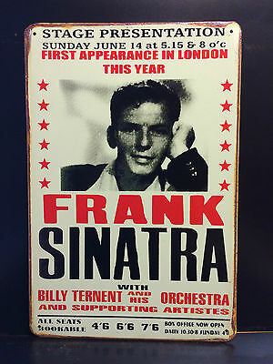 Frank Sinatra Concert In London Vintage Style Metal Wall Sign  20X30 Cm