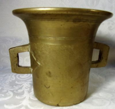 Antique English Solid Brass Apothecary Mortar Double Handle 19th Century Engrave