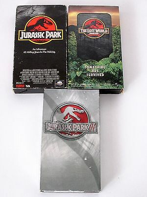 Jurassic Park The Lost World Jurassic Park III 3 VHS Lot Steven Spielberg