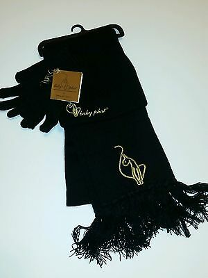 NWT BABY PHAT Women 3pc Knit Set Hat Scarf Gloves Black Gold Logo RARE beanie