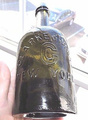 "Rare Original Clark & White, New York Olive Green Color  Mineral Bottle "" Nice """