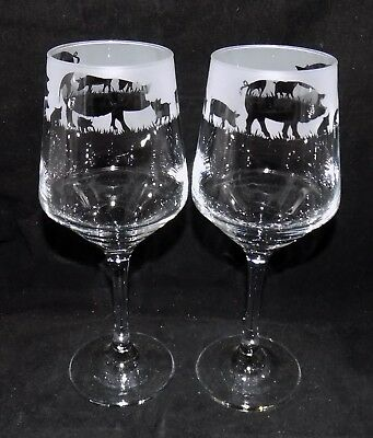 """New Etched """"PIG & PIGLET"""" Wine Glass(es) - Free Gift Box - Large 390mls Glass"""