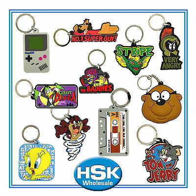 Novelty PVC Keyrings - Retro funky designs - Tweetie Pie Tom & Jerry Duckula etc