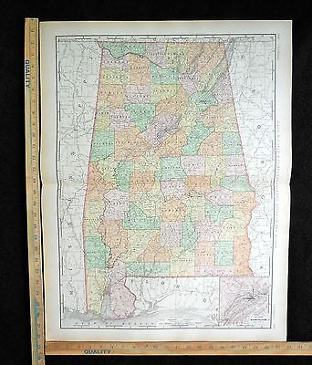 Antique 1894 ALABAMA Map Excellent Large Size For Wall 28 x 22