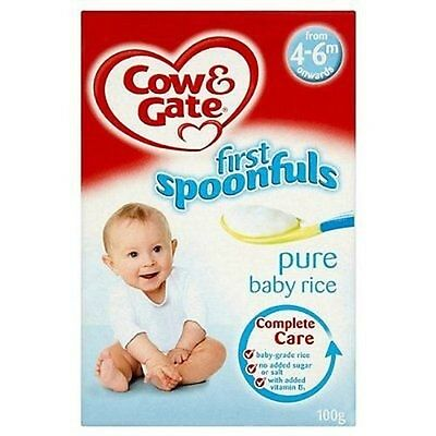 6 x Cow & Gate First Spoonfuls Pure Baby Rice from 4-6m onwards 100g