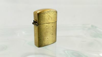 Tiny Brass Tone Lighter, Old Flint Wheel Style Cotton Wick Hinged Flip Top Japan