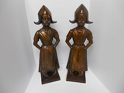 RARE VTG Cast Iron Fireplace Set of 2 Made in England~1950s Bronze color andions