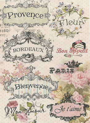 Rice Paper for Decoupage Decopatch Scrapbook Craft Sheet French Design Labels