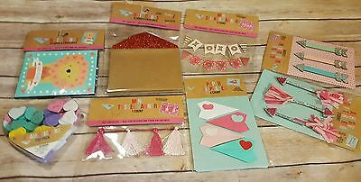 Target Dollar Spot Valentines Cards Craft Lot 8 Stickers Banner Note Cards New