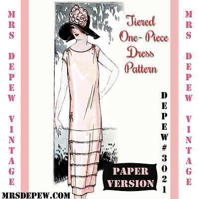 Vintage Sewing Pattern Instructions 1920's Tiered Dress Booklet Depew #3021