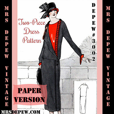 Vintage Sewing Pattern Instructions 1920's Flapper Ladies' Dress Booklet 3002