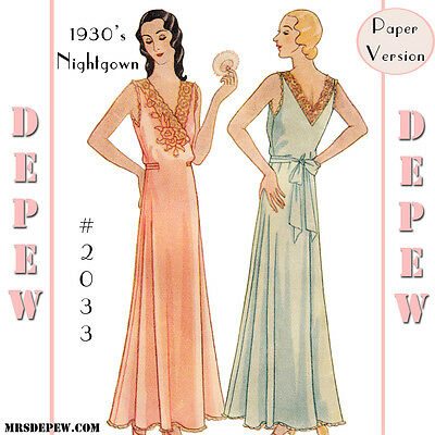 Vintage Sewing Pattern Repro 1930's Ladies Wrap Night Gown Embroidery Lace #2033