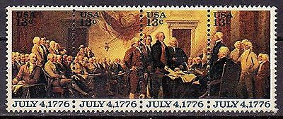 1694a strip of four 13 cent stamps Declaration of Independence MNH