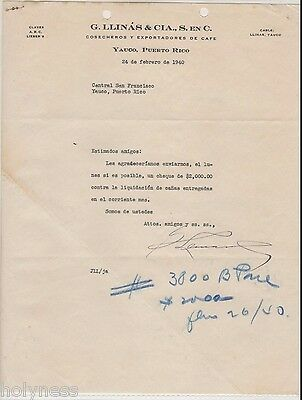 Vintage Commercial Letter / G. Llinas & Cia / Coffee / Yauco Puerto Rico / 1940