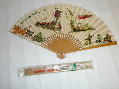 Vintage Cathay Pacific Airline Asian Wooden & Paper Hand Fan Dragon Boat in Bag