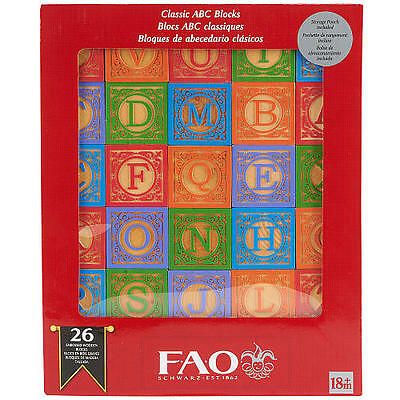 Wooden Fao Schwarz Blocks Abc Learn Gift Toy Baby Christmas Alphabet Letters Kid