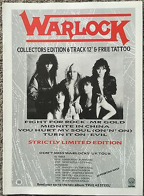 WARLOCK - 6 TRACK / TOUR 1986 full page press ad