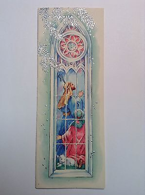 Shepherds With Sheep In Stain Glass Window CHRISTMAS VINTAGE Slim GREETING CARD