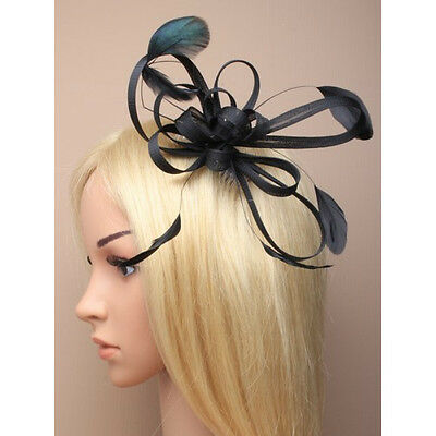Black Fascinator on Headband/ Clip-in for Weddings, Races and Occasions-8565