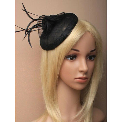 Black Fascinator on Headband/ Clip-in for Weddings, Races and Occasions-5878