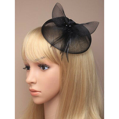 Black Fascinator on Headband/ Clip-in for Weddings, Races and Occasions-5198
