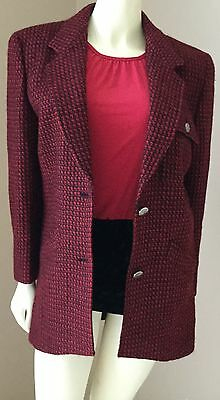 Vtg Oversized Boyfriend Red Tweed Italian Wool Lined Blazer Jacket Coat S M