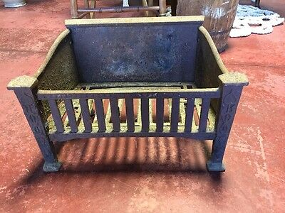 Antique Victorian Arts & Crafts Cast Iron Fireplace Insert Log Grate c. 1920