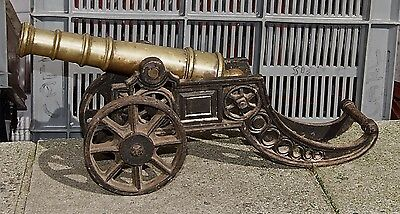Large Vintage Canon Solid Bronze or Brass & Cast Iron