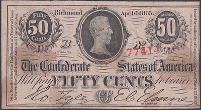 Confederate CSA 1863 Fifty Cent Note