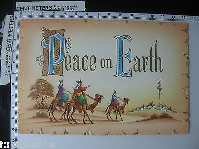 Peace on Earth - Wise Men Following Star - Vintage Christmas Card