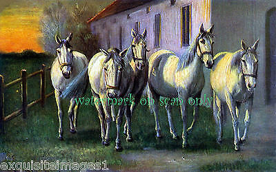 Vintage Art~Unusual Colors~White Horses~Stable~Dusk or Dawn~NEW Lge Note Cards