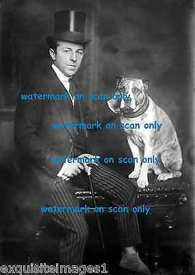 Antique Photo~Dapper Dressed Man~Top Hat~Cane Pitbull Terrier Dog~NEW Note Cards