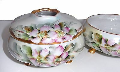 MZ Austria Porcelain Hair Receiver Bowl Footed Gold Gilt Pink Flowers Antique