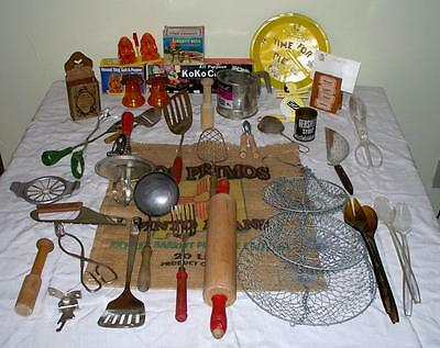 Antique Vintage Kitchen Utinsels Gadgets Collectible Lot Advertising