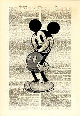 Upcycled Vintage Dictionary Book Page Wall Art Print - Vintage Mickey Mouse