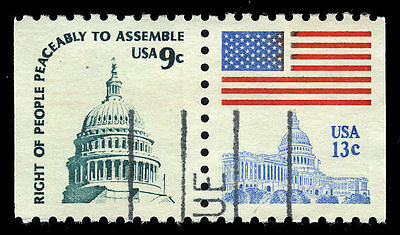 US #1590A 1623Be 9¢ Capitol Dome Perf 10 VF Used