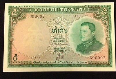 Laos UNC 5 Kip 1962-1963 P9 Banknote World Currency Paper Money