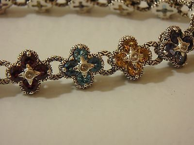 Barbara Bixby Sterling & 18K Multi Gemstone Flower Bracelet Magnetic New
