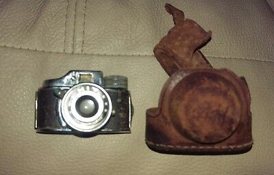 ANTIQUE MINIATURE MIT SPY CAMERA & LEATHER CASE Made in Japan Untested