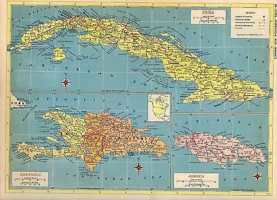 1953 CUBA JAMAICA HISPANIOLA HAITI DOMINICAN REPUBLIC Hammond Atlas ORIGINAL map