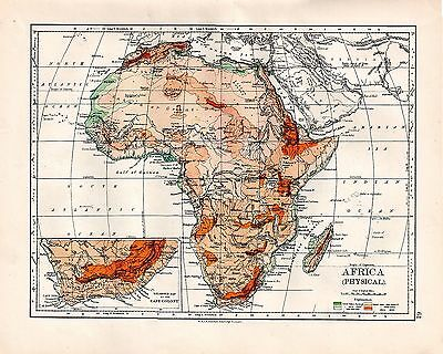 1893 TWO ORIGINAL MAPS PHYSICAL MAP AFRICA and ALGERIA TUNIS JOHNSTON ATLAS