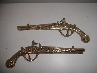 Pair Of Decorative Vintage Brass Pistols Wall Plaques