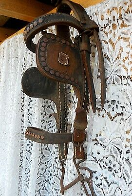 Antique Handmade Genuine Leather Horse Bridle with Bit