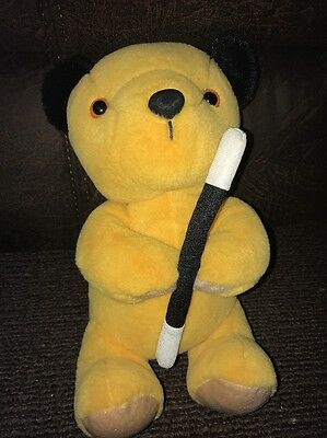 "BBC Sooty & Sweep Show - 10"" Soft Plush Sooty Toy With Magic Wand - VGC"