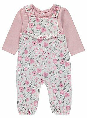 Baby Girls Floral Dungaree Set Outfit Top and dungarees  size 0-18 pink