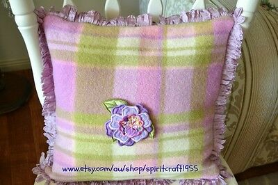Cushion Cover -  woollen blanket with looped fringe and embroidered flower